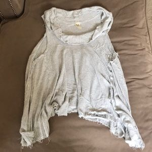 Free people gray waffle knit cows neck tank top